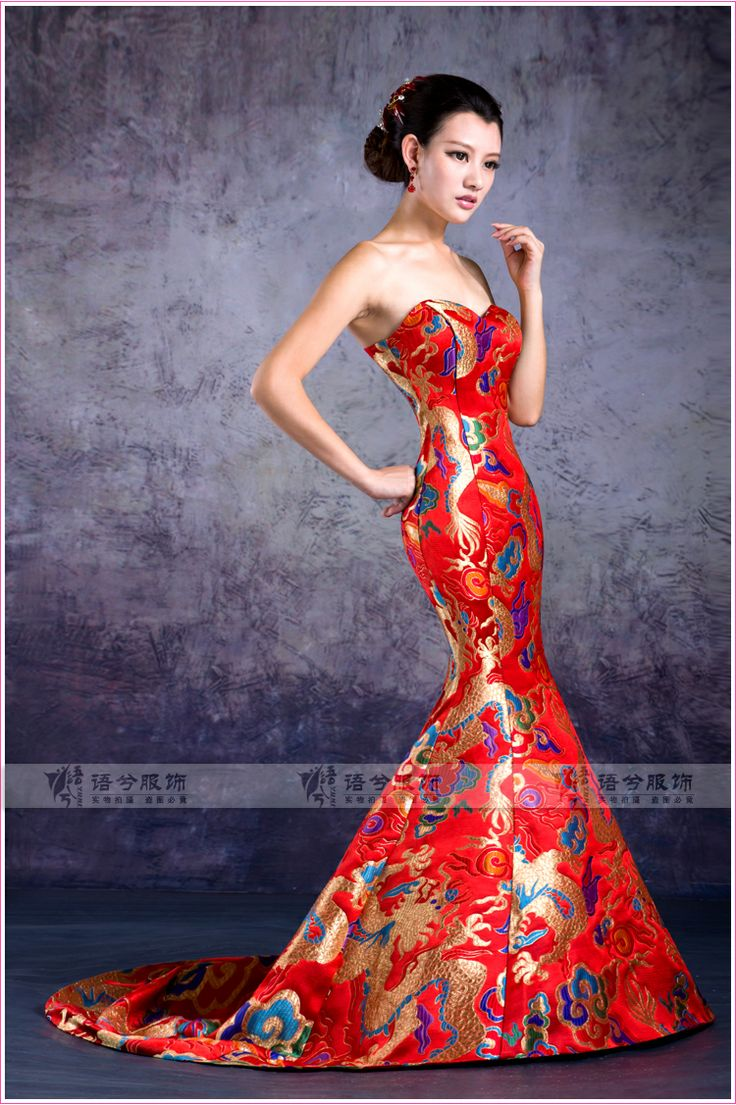 Red Chinese Gown My Style Chinese Gown Strapless