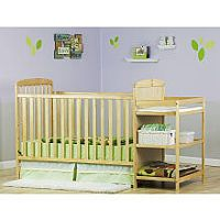 Dream On Me Full Size 2-in-1 Convertible Crib with Changing Table - Natural