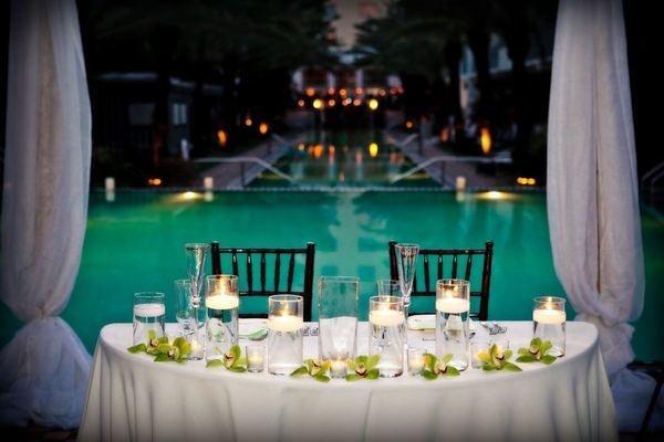 poolside wedding reception bridal table