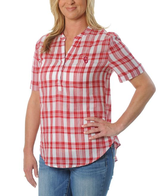 Oklahoma Sooners Plaid Button-Front Top