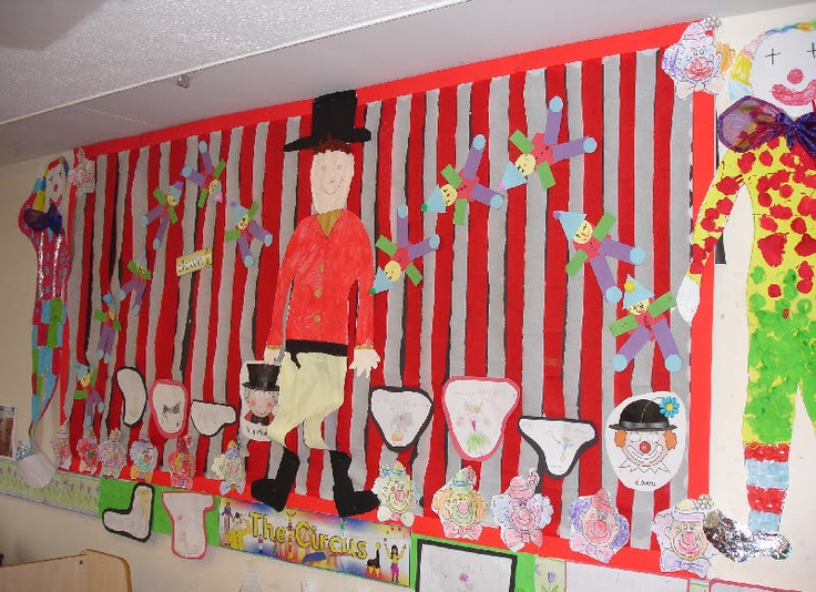 The circus classroom display photo from Nicola. (Will use the red and white streamers for outside wall of class--)