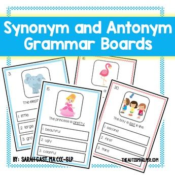 Practicing grammar and vocabulary requires lots of practice and multiple examples! A fun way to practice building synonyms and antonyms are with these interactive grammar boards. Students select the correct synonym or antonym for each prompt. Using visuals, multiple examples, and structure will allow students to practice the concepts of pronouns more successfully with this resource!