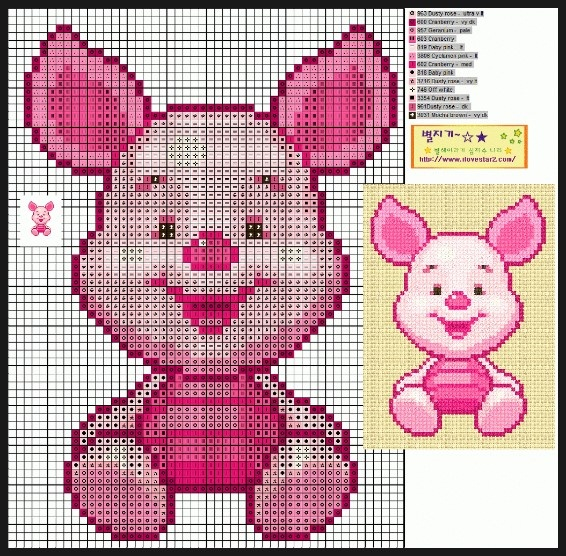 Free piglet cross stitch pattern (not a direct link, link not in English).