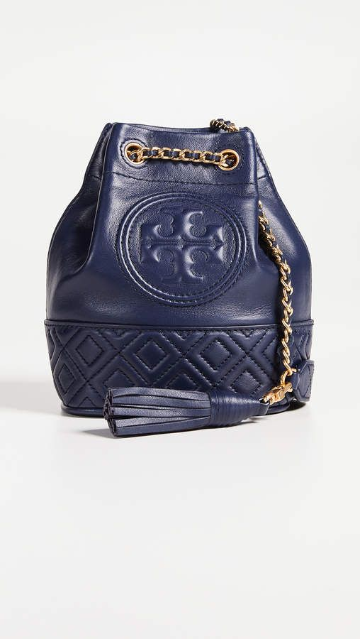 cc1df06af5 Tory Burch Fleming Mini Bucket Bag Royal Navy Purse Designer Handbag Fashion