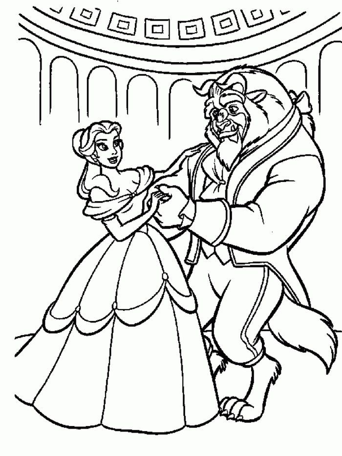 Printable Beauty And The Beast Coloring Pages In 2020 Dance