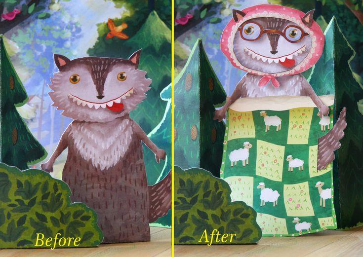 Finger puppets, Little Red Riding Hood, paper toy, paper theatre, craft for kids, digital download,printable kids gift, printable for ,before after, illustration, kids illustrations ,kids by MyWonderWonder on Etsy