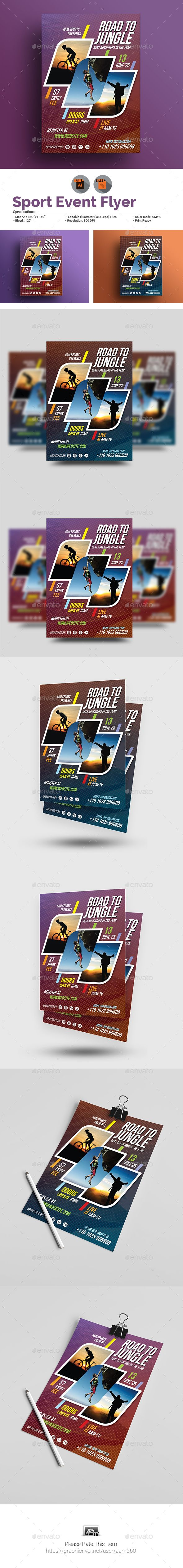 "Sport Event Flyer by aam360 Similar Templates:INFORMATIONS FOR THIS FLYER TEMPLATE:FEATURES:Size: 8.27""x11.69""Bleed: .25""Fully editable Illustrator AI"