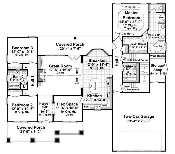 1 fl + bonus room over garage 1816 Sq. Ft. + 357 Sq. Ft. bonus, Bedrooms: 3 Full Baths: 2