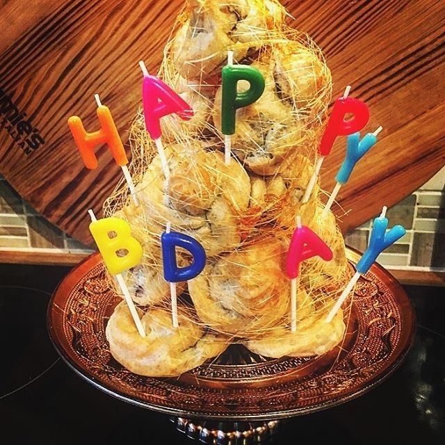 Mini Birthday Croquembouche for @badger790 🎈🎁🎂 #spunsugareverywhere #happybirthday #profiteroles