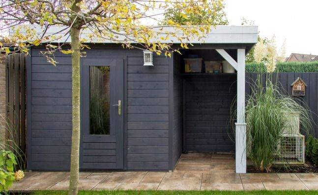 Prima Anna - Posh Garden Shed - Flat Roof - With wood store
