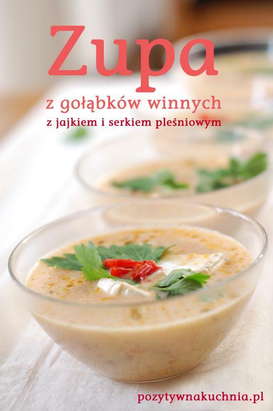 Zupa z gołąbków winnych - #przepis na zupę z grzybów z jajkiem i serem pleśniowym na #obiad  http://pozytywnakuchnia.pl/zupa-z-golabkow-winnych-z-jajkiem-i-serkiem-plesniowym/  #kuchnia #grzyby