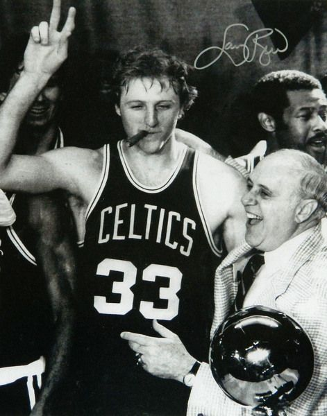 Larry Bird Signed Celtics Cigar Celebration With Red Auerbach B&W 16x20 Photo