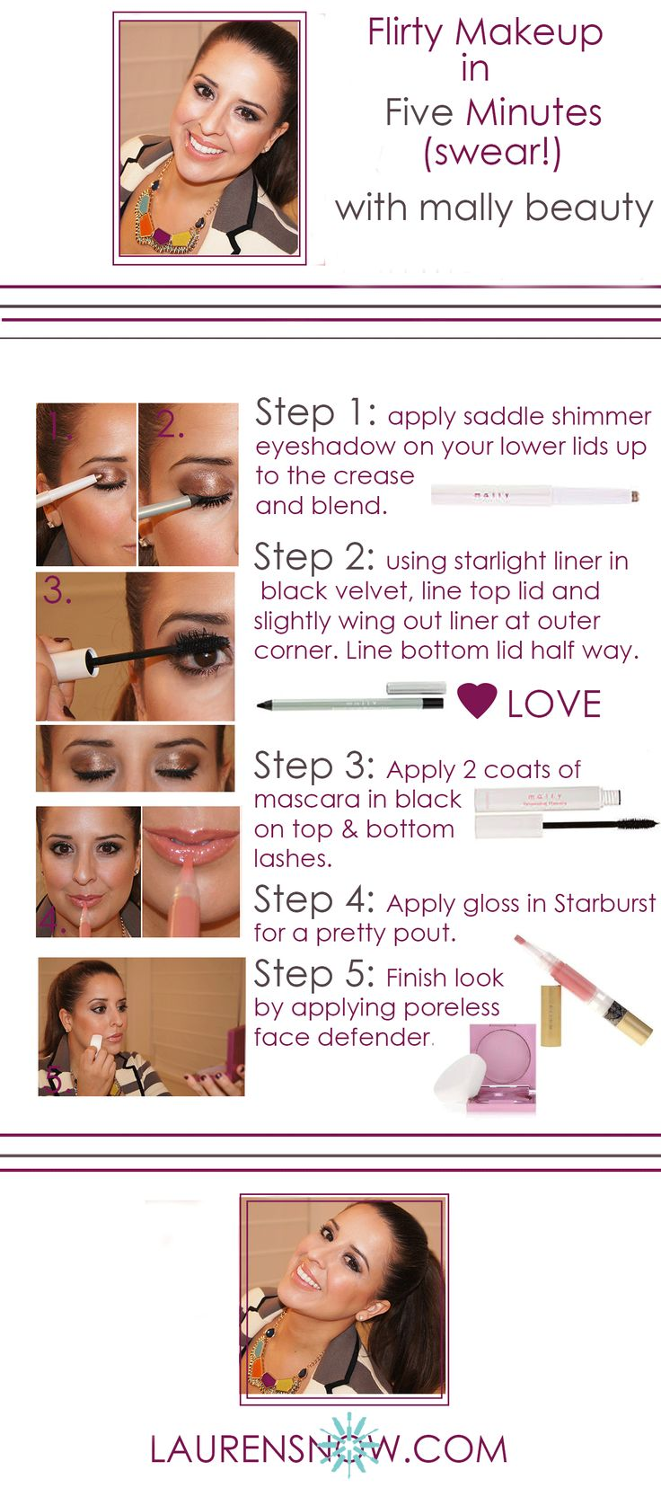 Visit http://laurensnow.com/ for more beauty tips! Mally Roncal. Mally Beauty. Fresh Face Makeup. Flirty Makeup. Makeup Tips. Makeup Tutorial. Lauren Snow. Lauren Snow Blog. Quick Makeup. Five Minute Makeup. Easy Makeup.