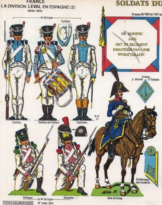 Leval's Division in Spain, 2nd Brigade(Dutch), 2nd Line Infantry Fusilier Company and Standard, 4th Line Infantry Elite Cos & Mounted ADC.