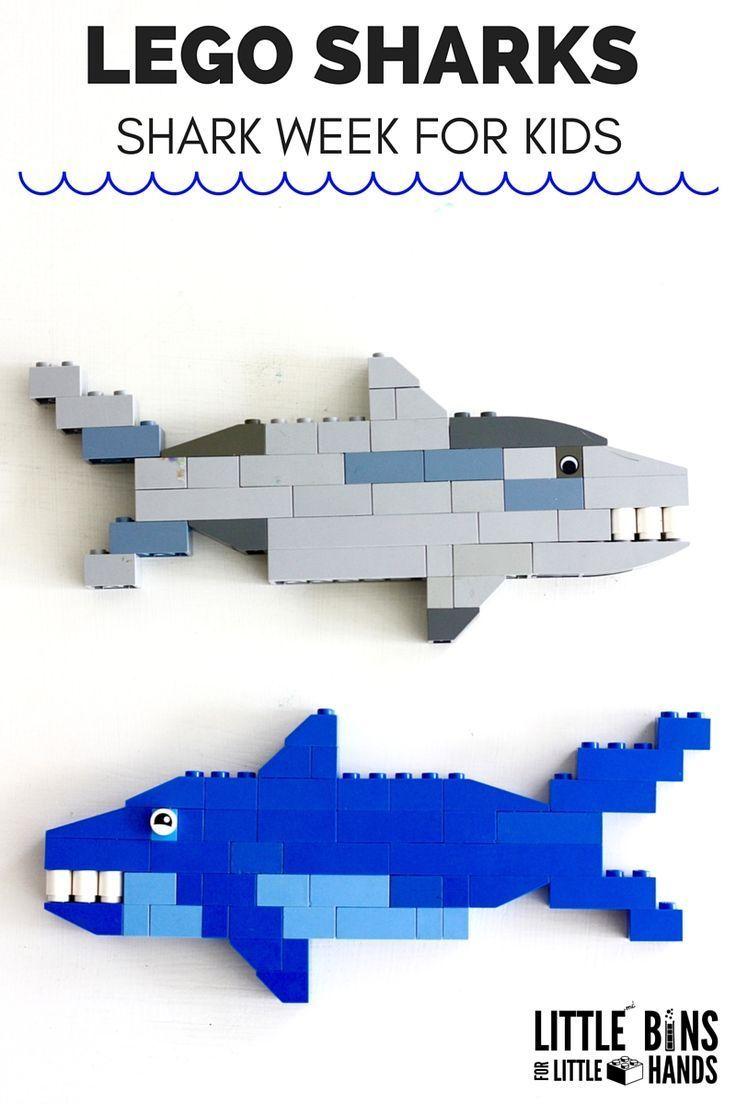 LEGO Sharks for Kids Shark Week Activities and Shark STEM. Shark building activity for ocean theme.