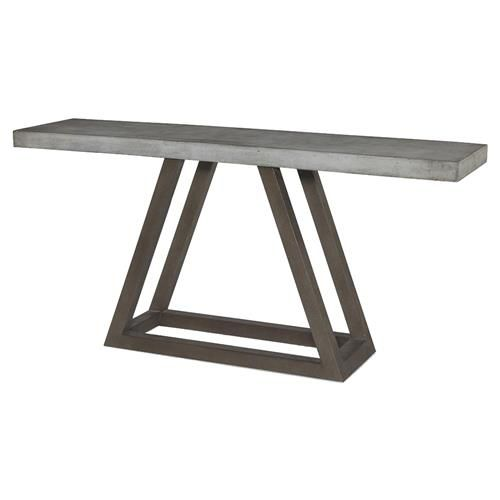 Mixing industrial materials with simple, understated style creates a cool, versatile console table. A trilateral slate base brings geometric balance to the grey stone top. Bring industrial style indoors or out with the Bourne console.