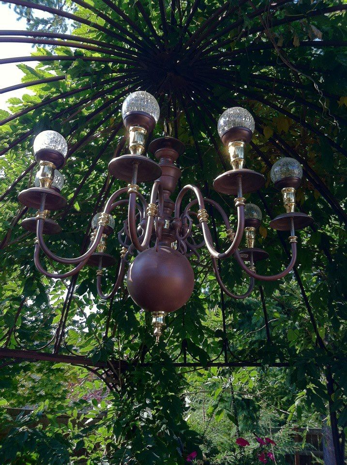 Maxine's solar lights chandelier...this is pretty awesome for the backyard!