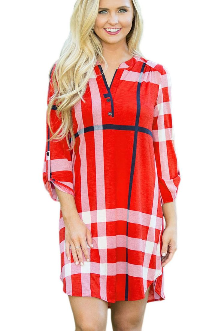 Prix: €15.67 Robe Tartan Rouge Ourlet Mini Retrousser Les Manches Cintrees Pas Cher www.modebuy.com @Modebuy #Modebuy #Blanc #Rouge #femme #robes