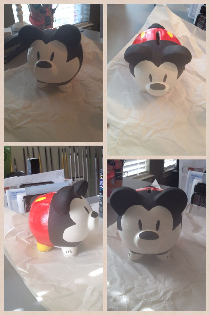 DIY Mickey Mouse piggy bank. This could be cute when the kids are older for saving vacation money.