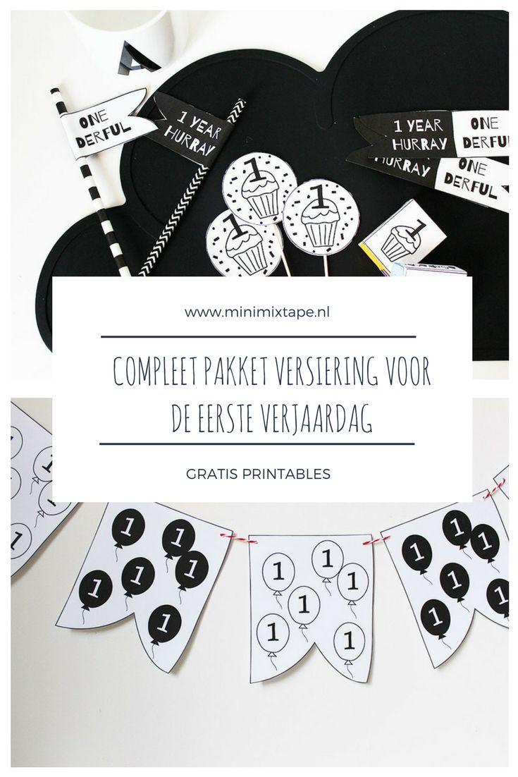 DIY versiering eerste verjaardag - download dit complete pakket printables met decoratie voor de eerste verjaardag gratis