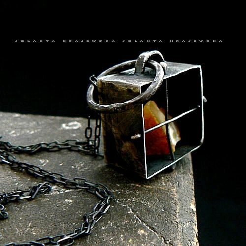 amber in a cage - industrial raw pendant sterling silver dark studs  baltic amber natural stone
