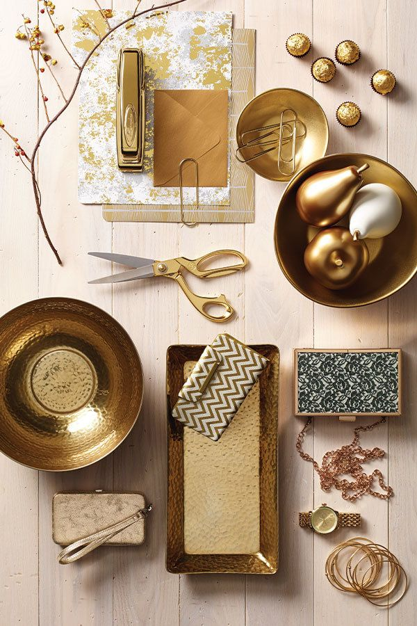 A collection view of the gold hammered tray we used in our How To Style Your Fall Mantle post