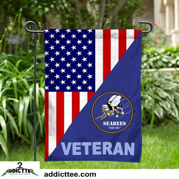 "12x18 12/""x18/"" U.S Navy Seabees Sleeved w// Garden Stand Flag"