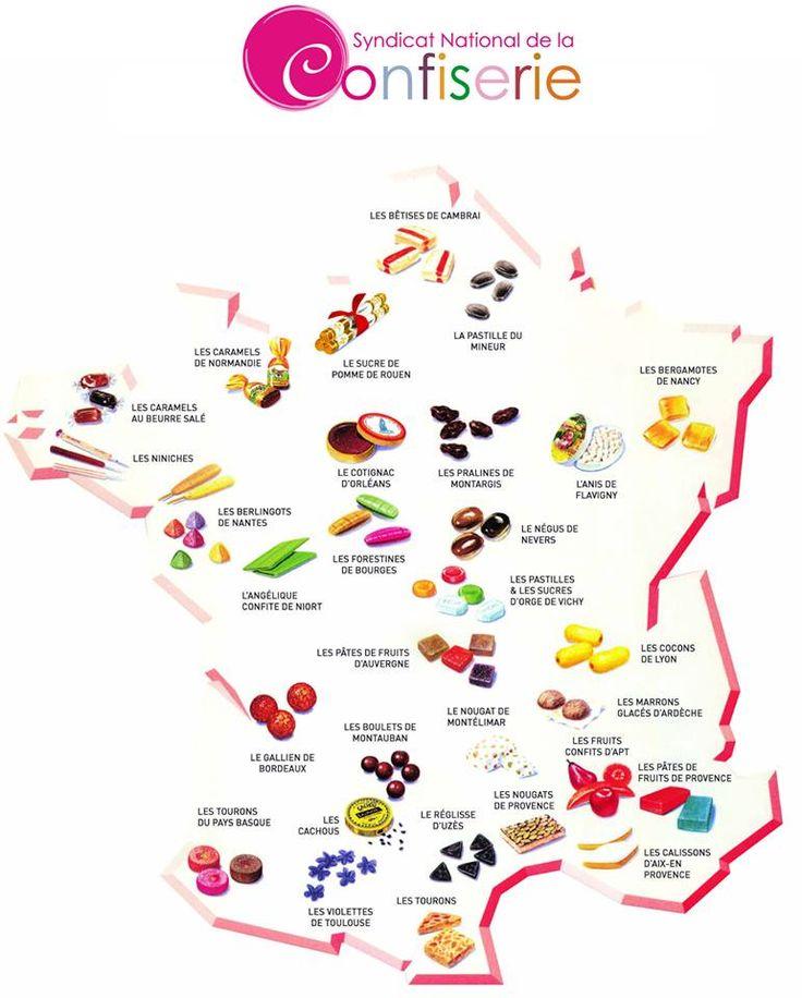 Carte de France des 600 spécialités régionales de bonbons et confiseries !  •  Ma Sérendipité
