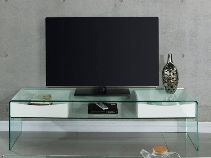 Meuble TV ABBY pas cher MDF laqué et verre trempé Coloris blanc prix Meuble Tv Vente Unique 269.99 €