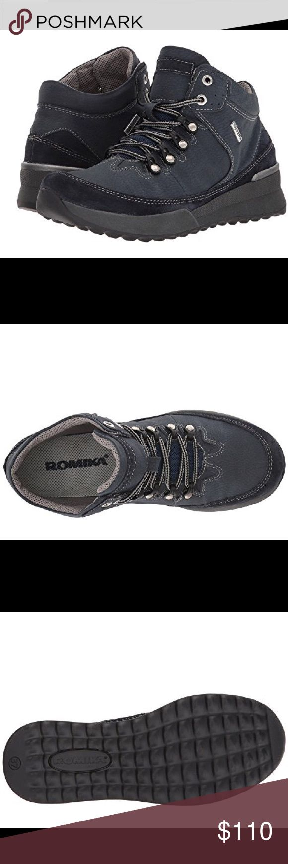 Romika Victoria 05 black shoes size 40 NWT Romika waterproof Victoria 05 boot. Durable leather upper. Topdry Tex membrane for a comfortable waterproof environment. Lace-up closure. Smooth textile lining. Textile padded footbed. Romika Shoes