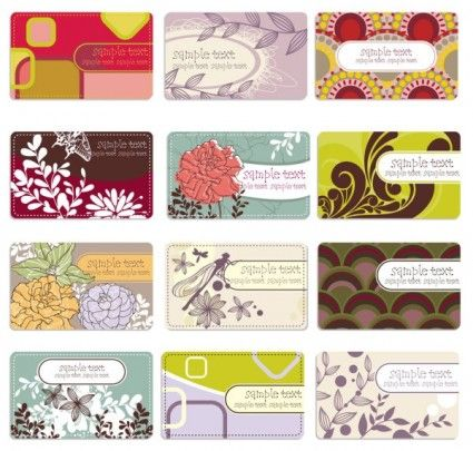 background elegant flower pattern cards 01 vector