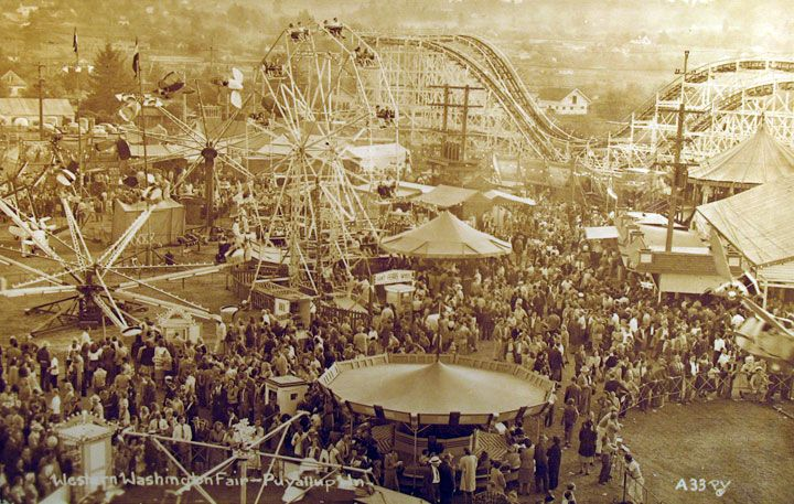 "Real Photo postcard of Western Washington Fair - Puyallup Washington Until 2006, the Puyallup Fair was officially known as the ""Western Washington Fair."" The Puyallup Fair is the largest single attraction held annually in the state of Washington. The fair continually ranks in the top ten largest fairs"
