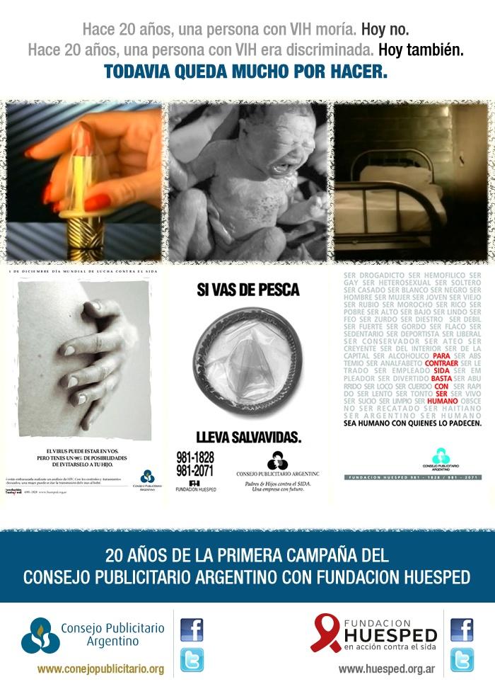 Acción realizada junto a Fundación Huésped por el 20º aniversario de la primera campaña de prevención del VIH/sida