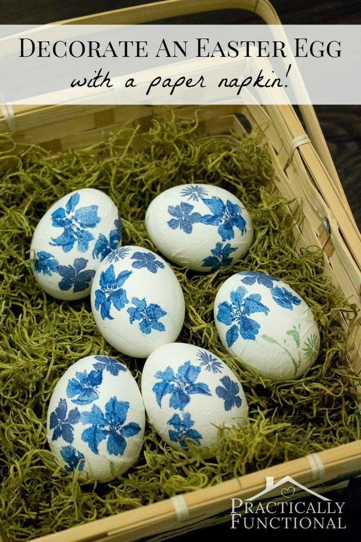 Decorate Easter eggs with a paper napkin! Quick, easy, and a perfect craft for kids!