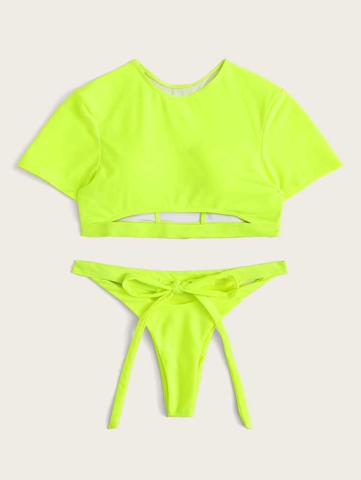 #ad Neon Lime Short Sleeve Self Tie Two Piece Swimwear. #Yescanberemoved#GreenBr…