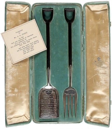 a wedding present for stanley  STANLEY, Henry Morton. Commemorative gardening tools, presented to Stanley.  1890.