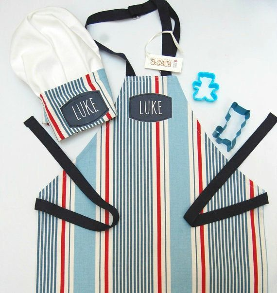 Nautical Stripe Cotton Apron with option to add Chef Hat to make a set. For children through to adult size. Choice of Personalized options a/ printed name only on apron bib or b/ STAR CHEF or JUNIOR CHEF or MASTER CHEF & Name printed panel on a white bib pocket. Perfectly styled for bakers of all ages: Great for Chef role play through to real, messy baking in the kitchen. Sizes: XS, S, M, L, AD(std). AD (Long) and bespoke sizing available. ♥ Designed and Handcrafted in London...