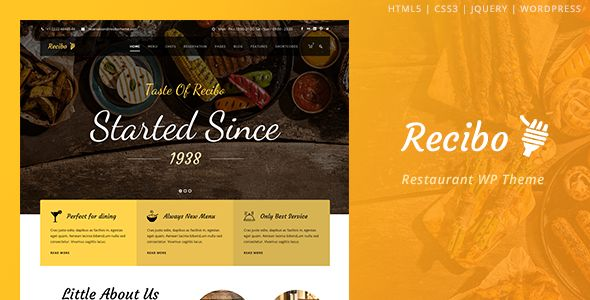 Recibo – Responsive Restaurant WordPress Theme is the best WordPress theme for Restaurant, Bar, Cooking, Cooking Blog, Bakery, Food Recipe, Winery websites. It has food single post that allow you to fill information for each foods. For example, ingredients listing, cooking period, cooking level, rating. You can also put food recipes if you'd like. However, if you don't want to food single post, you can disable it easily in admin panel as well. #food #blog #design #inspiration
