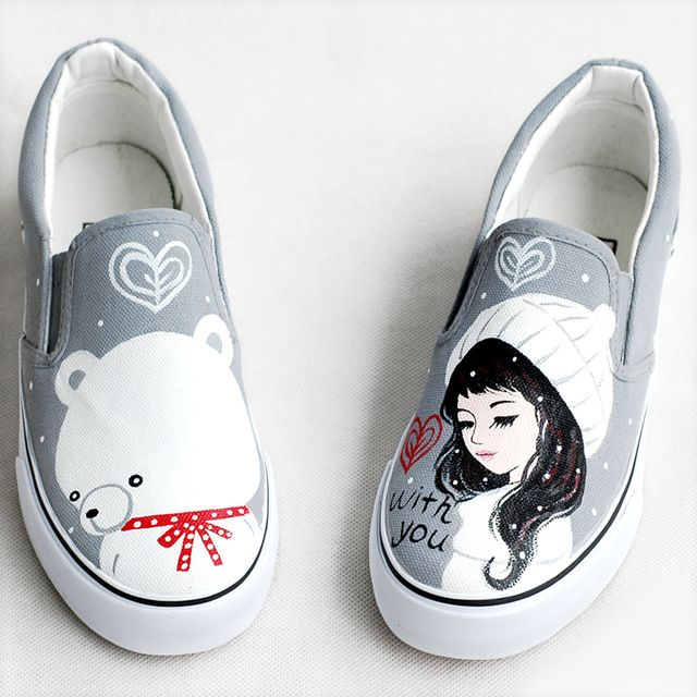 Buy now 2017 Spring New Canvas Shoes Women Loafers Personalized Hand-painted Girls Bears Footwear Graffiti Shoes Zapatos Mujers just only $18.64 - 19.48 with free shipping worldwide  #womenshoes Plese click on picture to see our special price for you