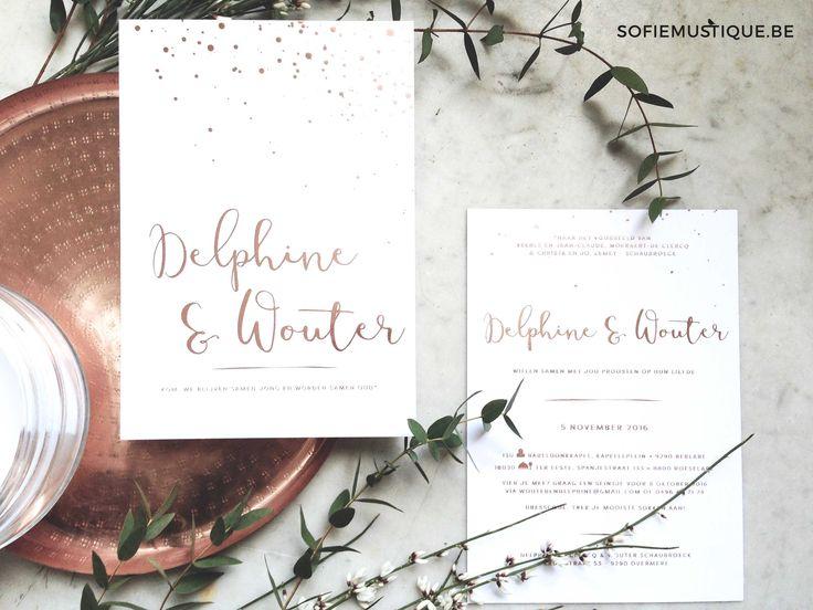 Huwelijksuitnodiging Delphine & Wouter   wedding invitation  letterpress   rosé goud folie   rosé gold foil   rose gold   confetti   moderne kalligrafie   modern calligraphy   sofiemustique.be  