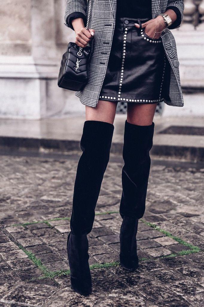 a588123b YSL Saint Laurent Niki Black Velvet Over the Knee Boots | Clothes ...