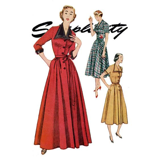 1950s Housecoat Pattern Uncut Bust 30 Simplicity by CynicalGirl