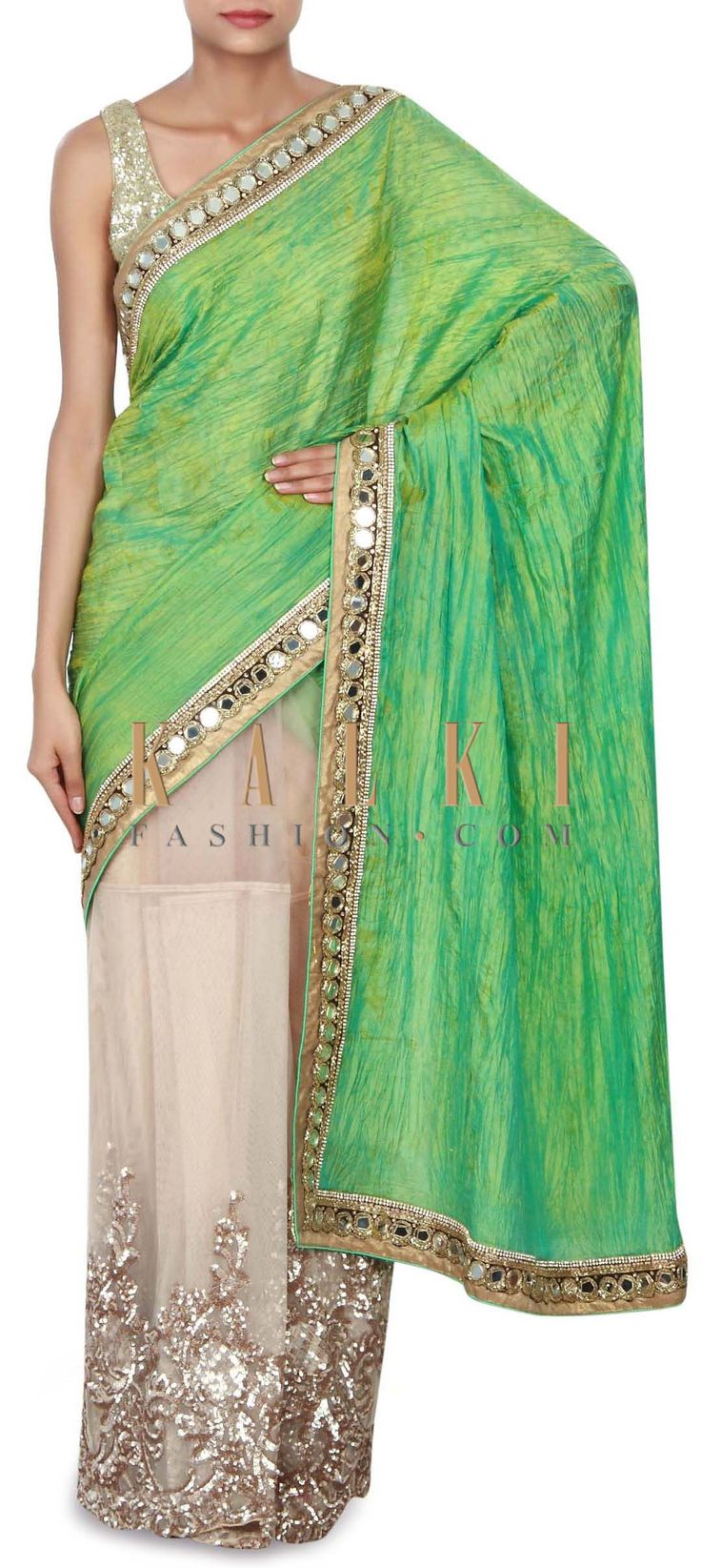 Buy Online from the link below. We ship worldwide (Free Shipping over US$100) Price-$229 Click Anywhere to Tag http://www.kalkifashion.com/half-and-half-saree-in-green-and-beige-with-sequin-embroidery-only-on-kalki.html