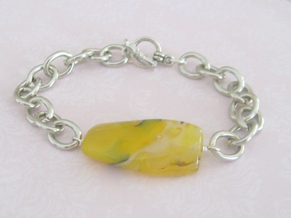 Silver Chain Bracelet with Gemstone Agate  Mother Days by maylui, $15.00