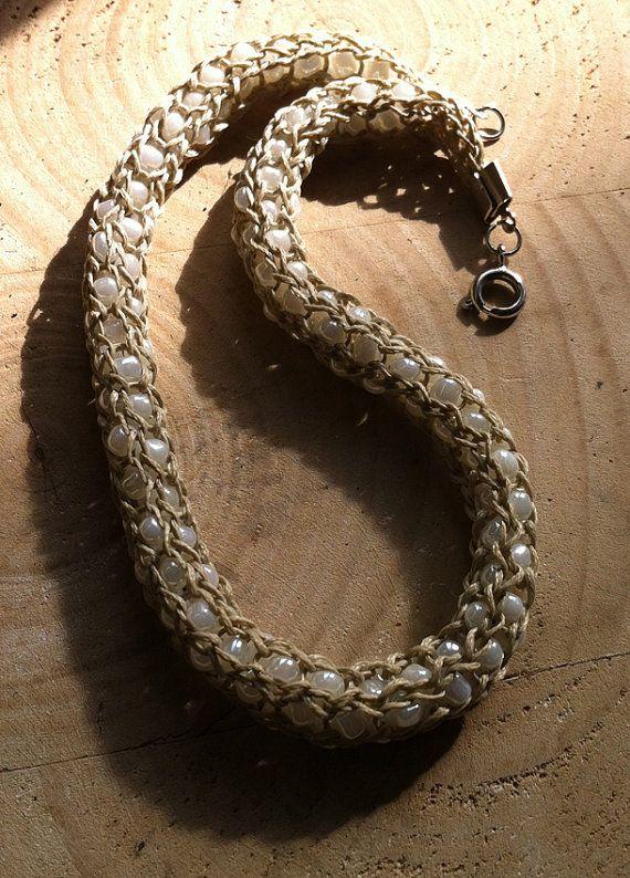 cream wax thread knitting necklaceGlass beads by bonmokishop