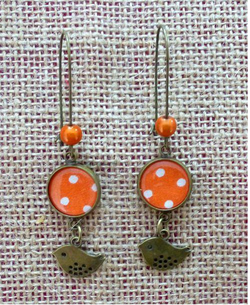Boucles d'oreille rétro en tissu orange à pois blancs : Boucles d'oreille par crocmyys