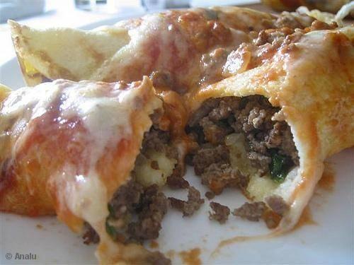 panqueca de carne moida kinda like Brazilian enchiladas with homemade pancakes