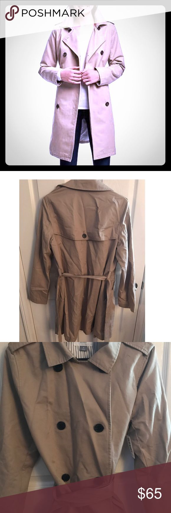 Classic khaki trench coat.  Size M NWT!! Classic, trendy, trench coat.  Brand new with tags.  Pet/smoke free home. Jackets & Coats Trench Coats