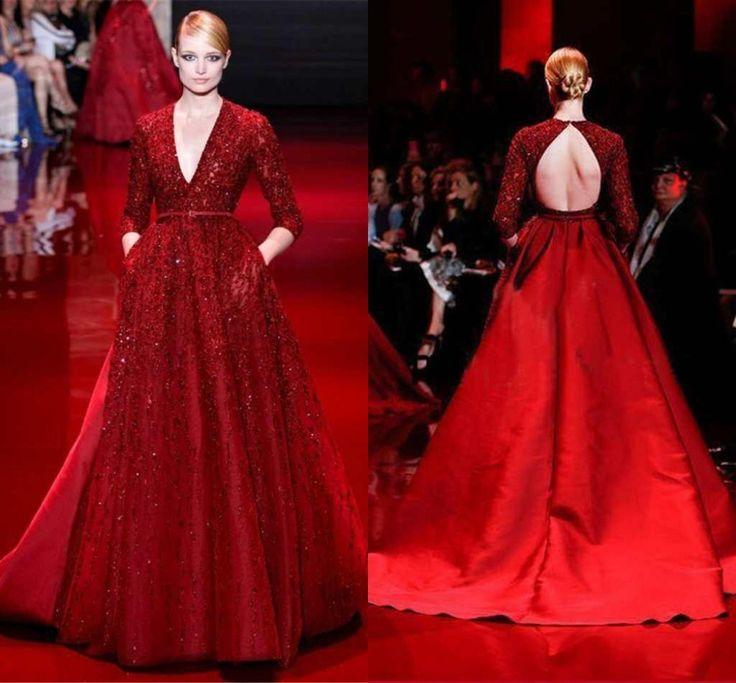 Купить товарElie Saab на заказ популярные красный знаменитости платье с открытой спиной полный рукав глубокий v образным вырезом вечернее платье 2015 платья партии в категории Звёздный стильна AliExpress.                                                                      Свобода заводы, гарантии качества;