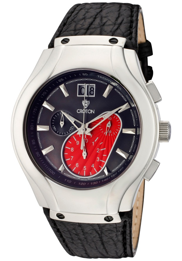 Price:$206.54 #watches Croton CC311235BSRD, Men's shark skin strap watch with date window at the 12 o'clock position.
